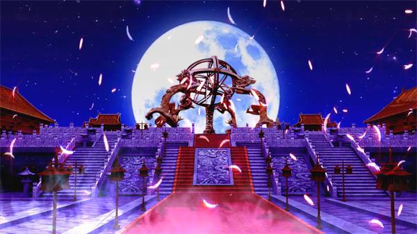 唯美羽毛纷飞古代皇宫祭祀宫廷歌舞月色 大屏幕LED背景视频素材