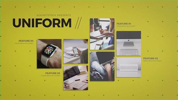 AE模板 简洁大气图文展示阴影特效企业宣传片 AE素材