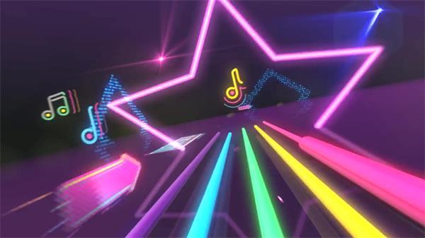 動感酷炫多彩流光線條熒光星星音符 大屏幕LED高清背景視頻素材