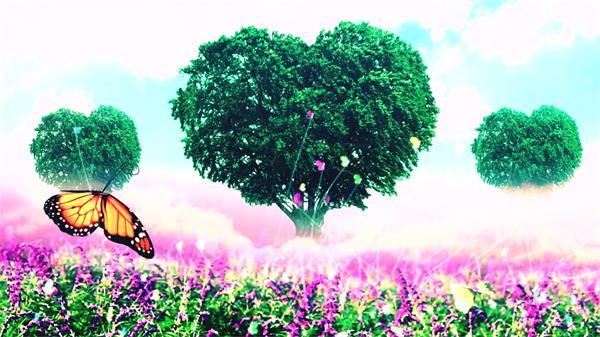 唯美浪漫蝴蝶飞舞心形树薰衣草 大屏幕LED高清舞台背景视频素材