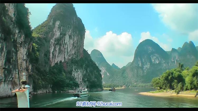 甲天下广西桂林漓江游船游桂林漓江山水风景高清实拍
