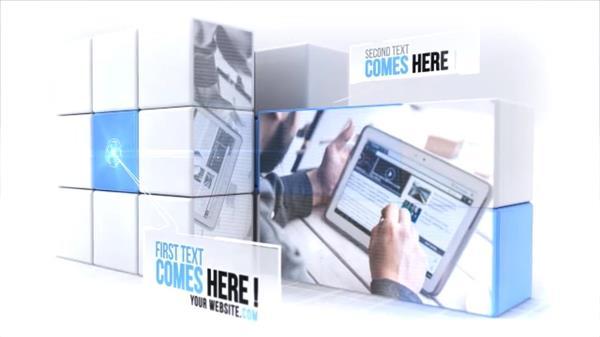 AE模板 商务科技3D魔方拼接动感企业宣传片头 AE素材
