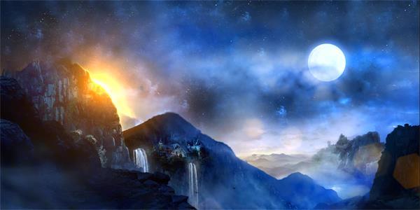 梦幻中国风飘浮粒子云海涌动仙人奔月 仙人奔月视频素材