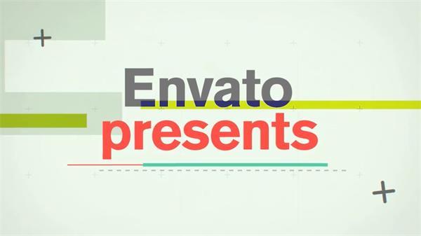 AE模板 时尚电影胶片扁平化方块矩形滑出图文展示幻灯片 AE素材