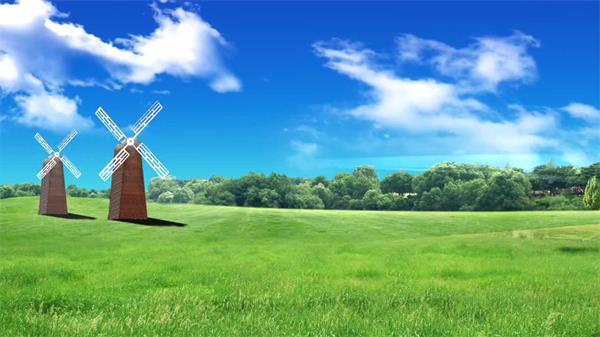 唯美简洁蓝天清新草原风车 蓝天草原背景视频素材
