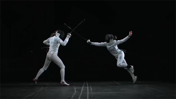唯美剑拔弩张慢动作击剑体育极限对战高清实拍