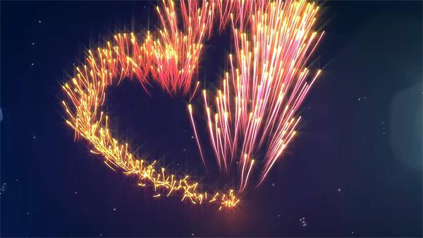七彩斑斓爱心粒子太空线性游动 婚庆LED背景视频素材