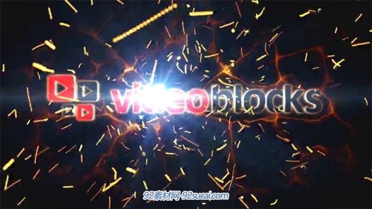 ae模板 震撼的火花粒子飞舞logo展示 ae素材