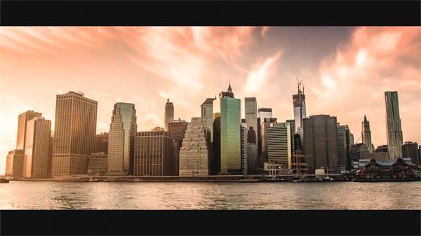 繁华的美国纽约都会风光延时拍摄