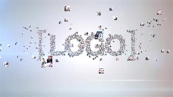 AE模板 简洁炫光图片汇聚LOGO标志展示模版 AE素材