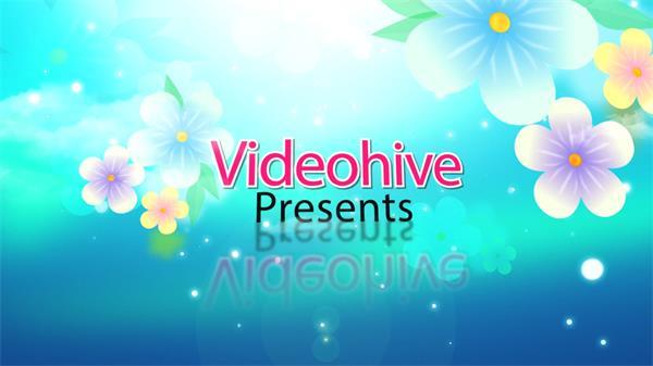 AE模板 缤纷花朵装饰幻化切换图片字幕条展示模版 AE素材