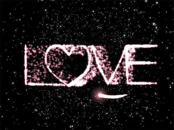 高尚大气求婚星空滑翔LOVE戒指流星 婚礼配景LED视频素材