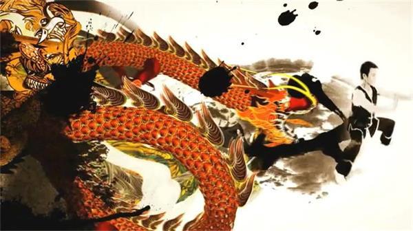 中国功夫龙腾飞跃水墨书法完美结合 功夫水墨视频素材