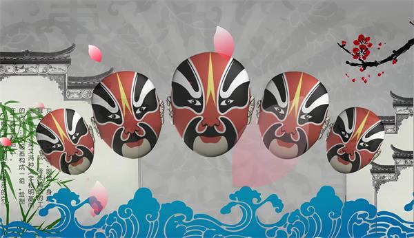 花瓣飘浮中国风京剧戏曲脸谱LED背景视频素材