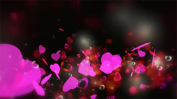 粉色浪漫爱心漫天飞翔喜庆婚礼LED配景视频素材