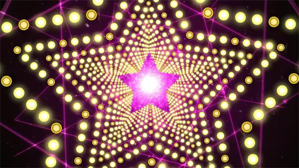 紫光闪耀五角星粒子光斑酒吧夜店LED背景视频素材