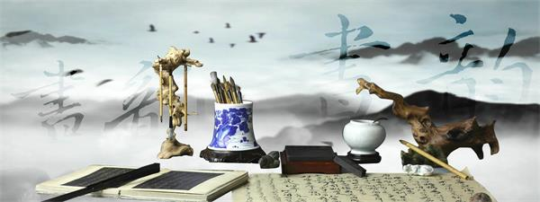 文房四寶筆、硯、紙、墨動態背景視頻素材