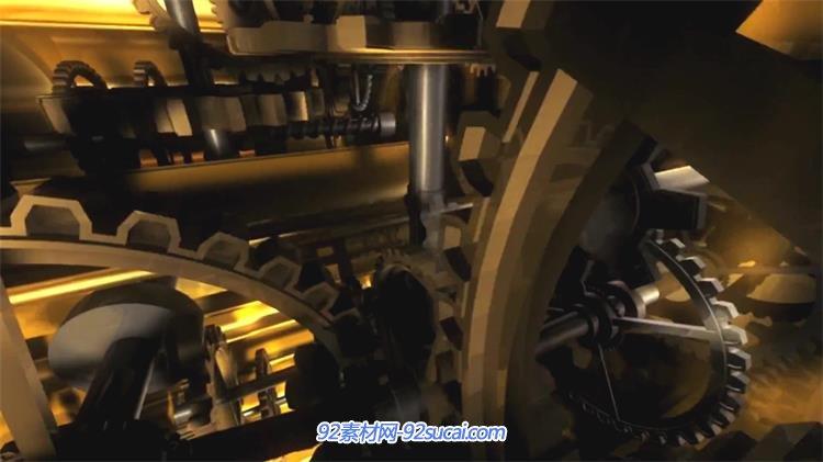 金黄齿轮运作机械化内部结构 齿轮旋转视频素材