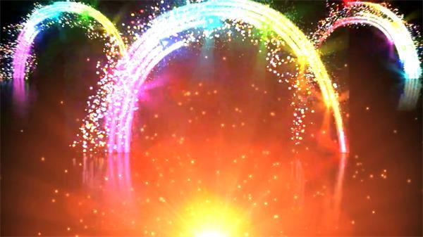 歡樂喜慶絢麗粒子拱橋門光芒四射視頻素材