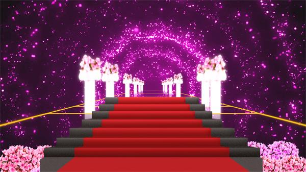 梦幻紫色婚礼通道灿烂星光红地毯花柱视频素材