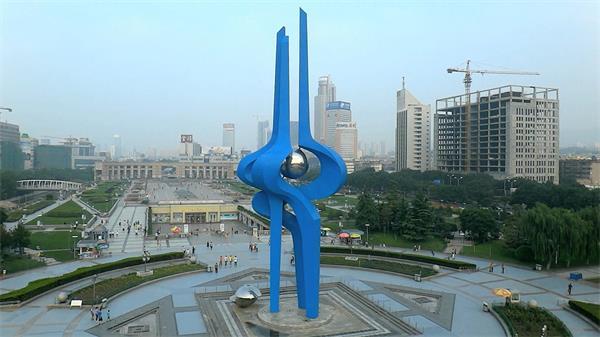 山东济南泉城泉标广场高清实拍航拍素材