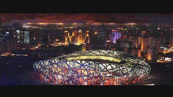 都城北京兴旺都会夜景修建车流优美风景高清视频实拍