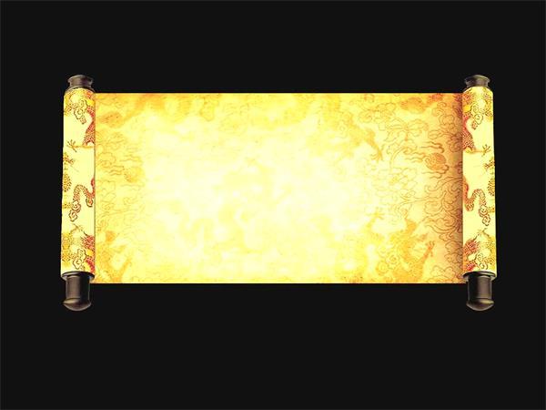 古代圣旨金碧辉煌龙凤纹理奢华大气卷轴开启视频素材