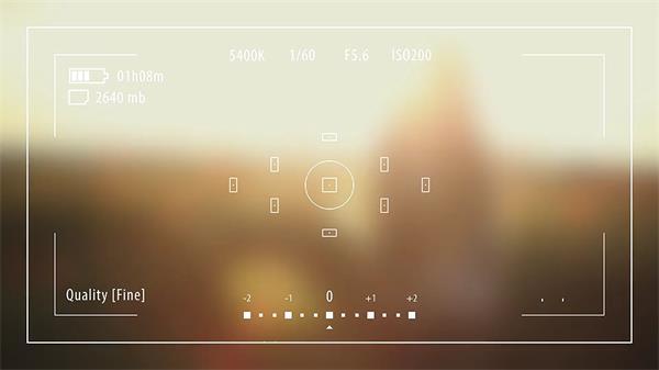AE模板 扁平化信息科技录像相机UI自动对焦磨砂镜头模版 AE素材