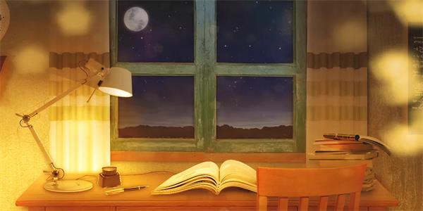 唯美晚上美景窗前书房桌面飘浮星光动态视频素材