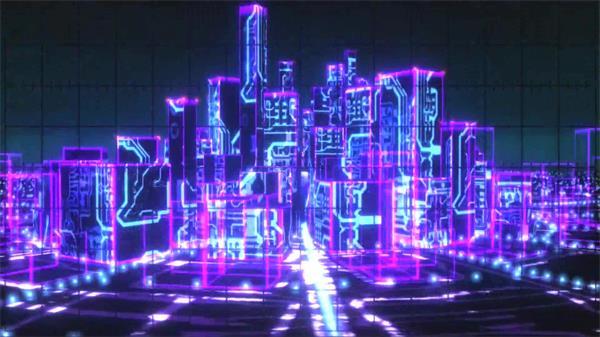 外洋震撼3D空间假造科幻都会闪耀光效动感配景视频素材