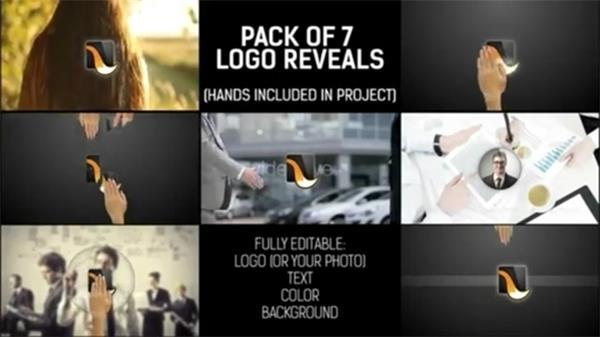 AE模板 创意分屏模糊拼接LOGO多样特效图片背景模版 AE素材