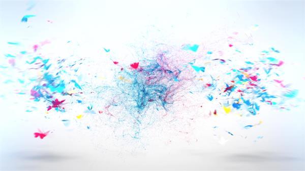 会声会影X6模板 缤纷色彩折纸蝴蝶飞舞汇聚烟雾粒子广告宣传素材
