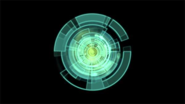 高科技荧光绿圆形极速旋转动感节拍视频素材