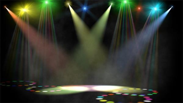 舞室多彩探射灯自在摆荡静态LED配景视频素材