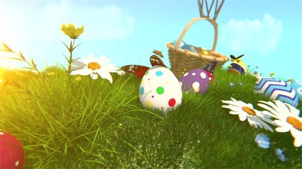 AE模板 缤纷欢乐复活节彩蛋节日动画模版 AE素材