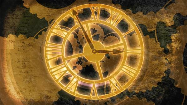 震撼齒輪旋轉羅馬數字時鐘動態LED背景視頻素材