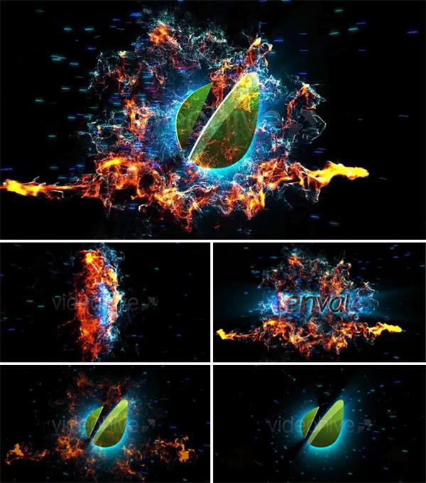 AE模板 震撼美丽火焰尘粒子穿越爆炸旋转归纳logo标记模版 AE素材