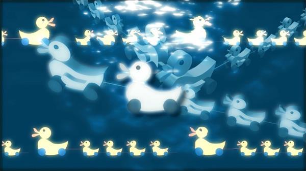儿童卡通动画鸭子群水上游动态LED背景视频素材