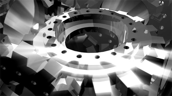 银色发光转轮锯齿旋精细转静态视频素材