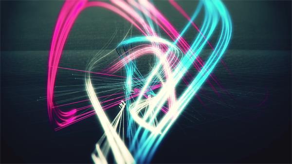 超强科技感3D空间炫彩线条交错飞舞视频素材