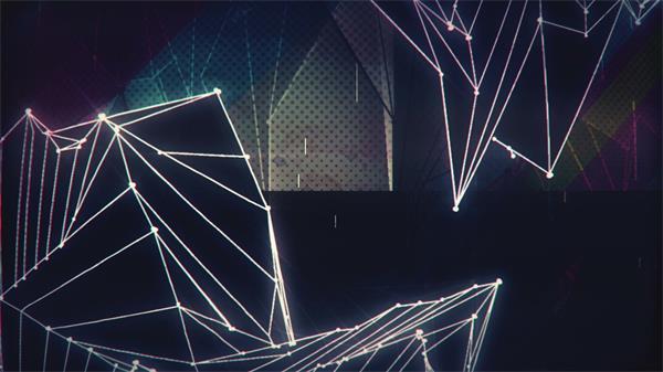 疾速变革点线物体梦境折点图画LED视频配景素材