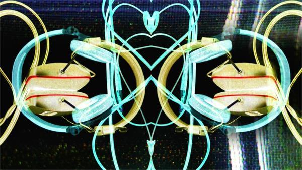动感节奏DJ耳机图案夜店动态LED背景视频素材