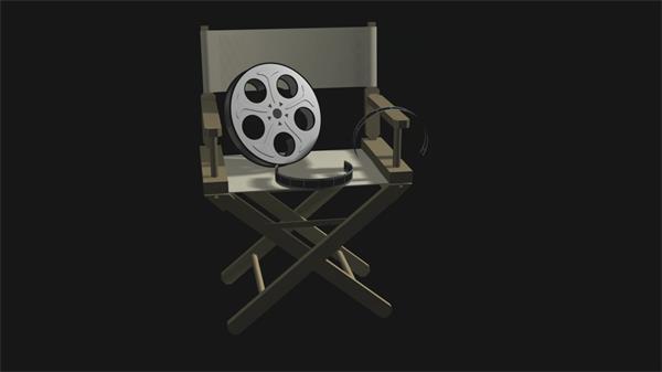 导演椅子电影胶片多视觉拍摄旋转视频素材