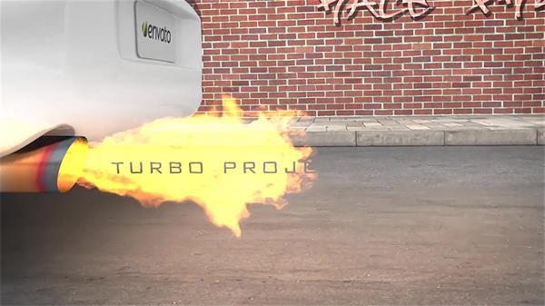 AE模板 炫酷3D建模汽车喷出火焰转换字幕标题模版 AE素材