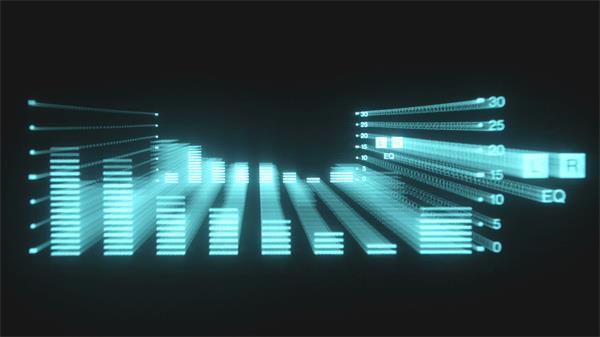 3D立体科技条形音响跳动数值变化动态视频素材