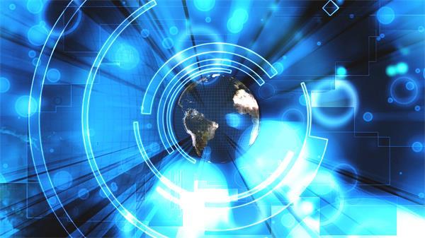 互联网时代信息科幻地球旋转光圈飘浮背景视频素材