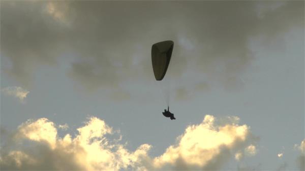 降落伞高空滑翔极限降落运动实拍高清视频素材