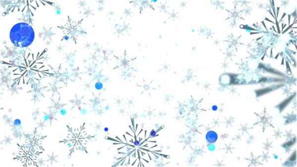 唯美白色雪花飘落圆形粒子飞舞冰雪世界背景视频素材