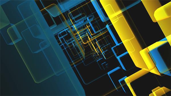 梦境透视矩形光箱回型旋转视觉打击视频素材