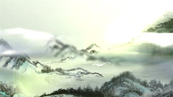 古典中国风羊毫挥动水墨幻化联合山川图画视频素材